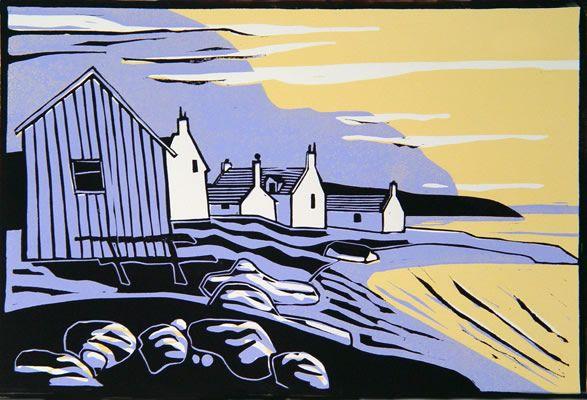 Sandend - Linocut by Colin Moore