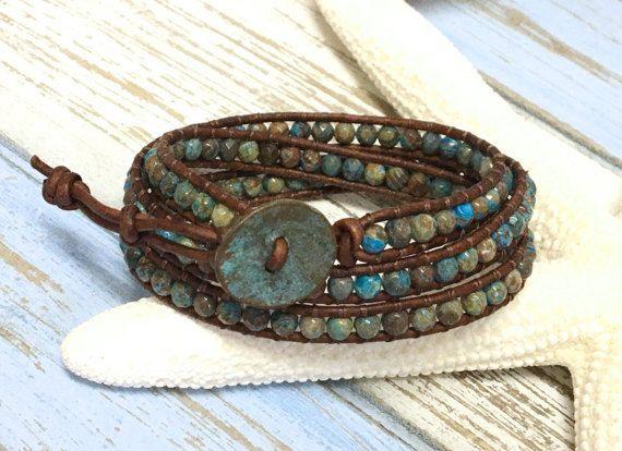 Pulsera Triple envoltura de jaspe turquesa, piedra preciosa de cuero abrigo, pulsera Boho, pulsera del abrigo, con cuentas Wrap, joyas de piedras preciosas, pulsera de jaspe