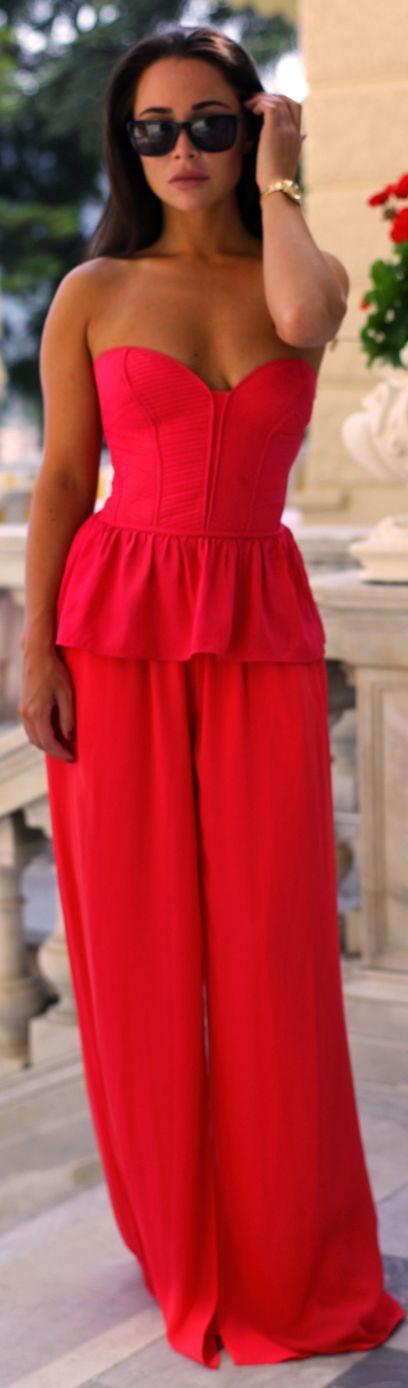 Zara Red Floor Length Chiffon Splited Flowy Palazzo Pants- ~LadyLuxury ~