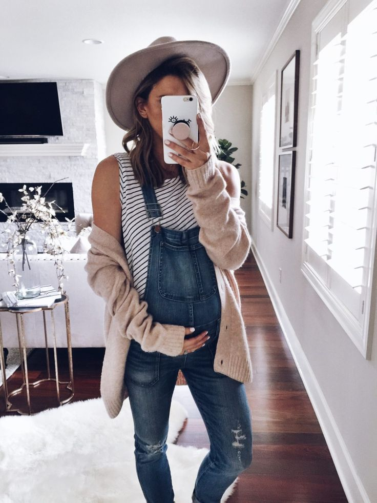 Cardigan (comes in grey also) // Madewell Overalls similar here and maternity version here // Striped Tank by BAE similar…