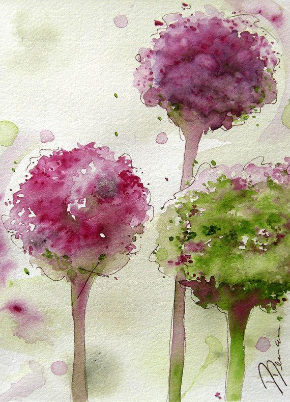 Tirage d'Art botanique moderne, aquarelle impression d'alliacées