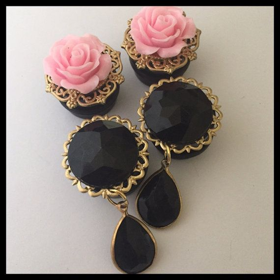 2 PAIRS Gold Pink Rose Gem Holiday Fancy by Lovekillsboutique