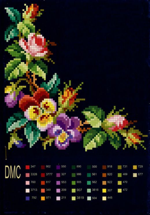 Please Share00520Beautiful Bright Colors Against A Black Background. The color chart is attached to the bottom of this eye-catching piece. The colors show up vividly against the black background making this piece truly stunning. Happy Stitching. PHOTO CREDIT I am unable to find an original author of this piece. Please Share00520