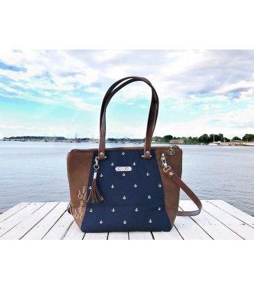Handtasche Anker -weiß/nachtblau- Größe: M