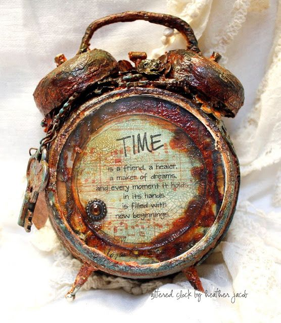 Altered Rustic Clock -- Layers of Gesso, Viva croco Crackle, clear rock candy/ crackle paint  and distress stain /ink.