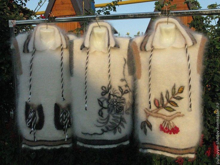 Купить Жилет пуховый с вышивкой - белый, Жилет женский, жилет вязаный, козий пух, вышивка