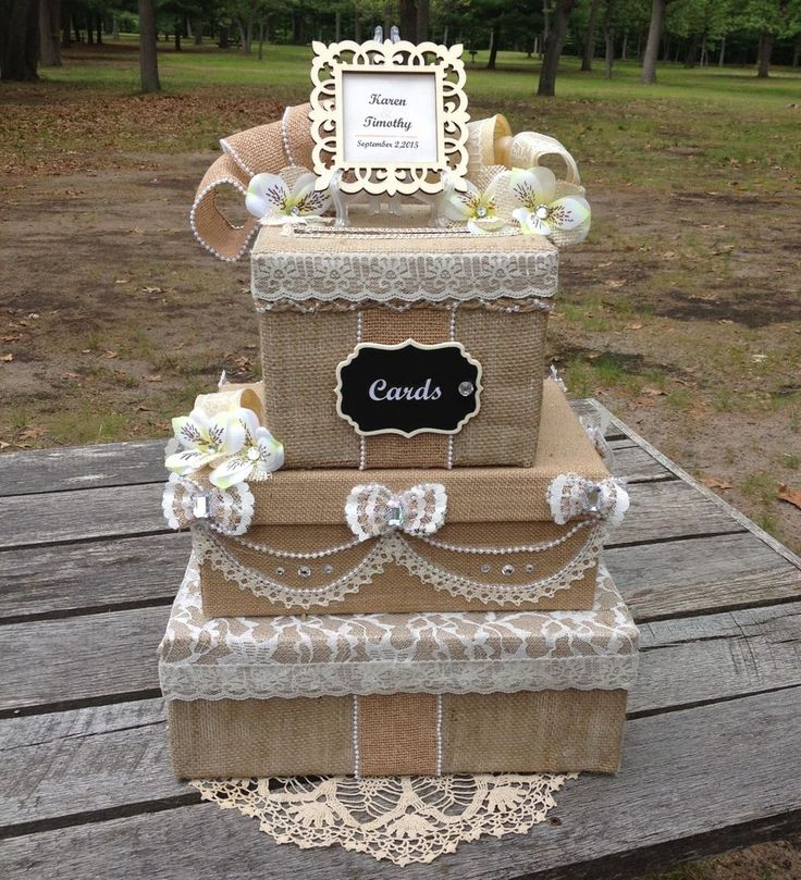 Victorian Burlap And Lace Wedding Money Card Box Rustic Bridal Invitation  Beige
