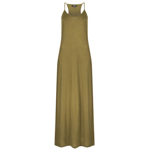 TOPSHOP Strappy Cami Maxi Dress (8.69 CAD) ❤ liked on Polyvore featuring dresses, olive, cami dress, brown camisole, racerback cami, olive green maxi dress and maxi dresses