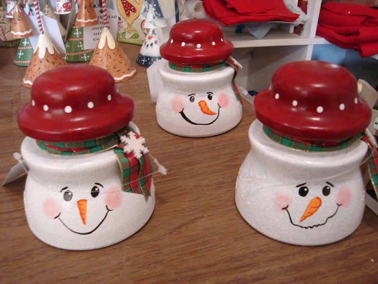 Three telephone insulator Snowmen