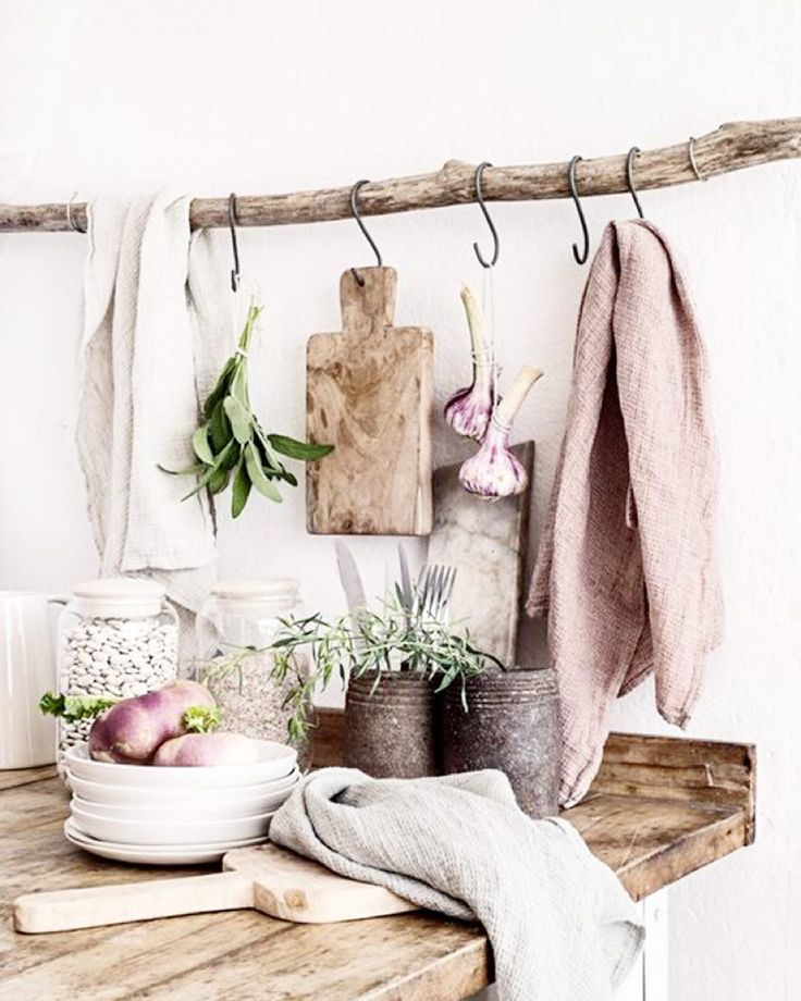 Raw Wood and Smokey Linens  #kitchen #home #inspo by yoli_and_otis