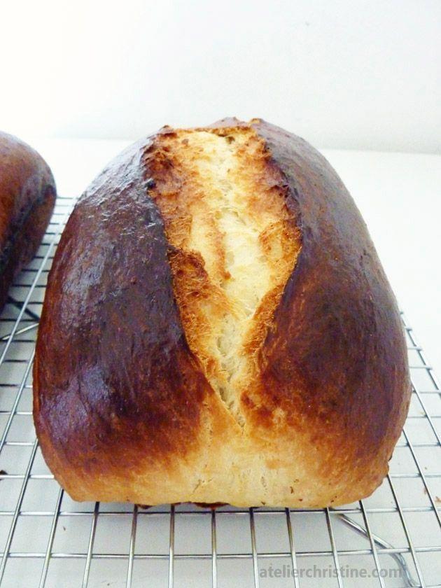 French Brioche Loaf, easy, no-knead bread
