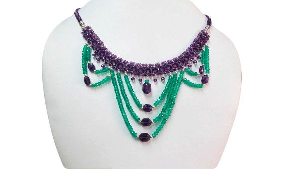Designer Amethyst & Green Onyx beads necklace with by anushruti