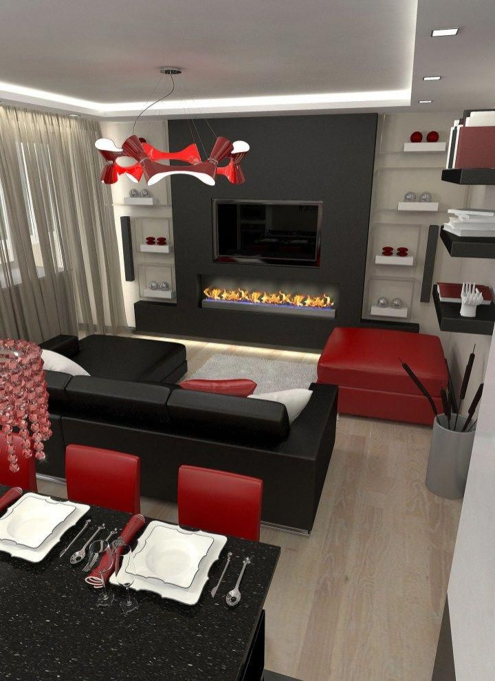 Decorating A Living Room In Black White And Red Home Decor Intended For Furniture
