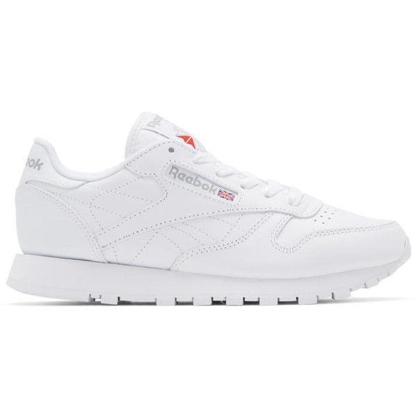 Reebok Classics White Leather Classic Sneakers ($70) ❤ liked on Polyvore featuring shoes, sneakers, white, white lace up shoes, lace up sneakers, reebok trainers, white low tops and white leather sneakers