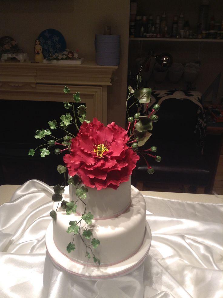 Burgundy peony wedding cake