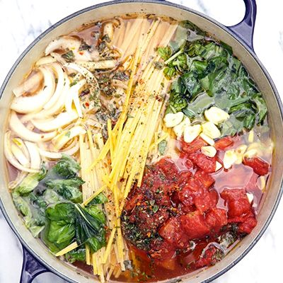 One Pot Wonder Tomato Basil Pasta: Made this tonight.... Bumped up the fresh basil and garlic, and added fresh cherry tomatoes and shrimp the last few minutes of cooking. I suggest about a cup less liquid if you add fresh tomatoes... But this was so easy, healthy and INCREDIBLE!