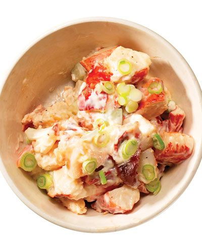 Lobster Salad:Makes about 3 cups    1 lb. cooked lobster meat, cut into ½″ chunks  ½ cup mayonnaise  3 scallions, trimmed and thinly sliced  1 medium cucumber, peeled, seeded, and cut into ¼″ cubes  Kosher salt and freshly ground black pepper, to taste    In a large bowl, gently stir together lobster, mayonnaise, scallions, cucumber, salt, and pepper.