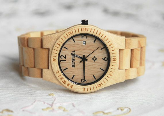 ETSY - Wooden Watch For Women or Men Maple Wood, Quartz Vintage With Calendar Round Dial, Waterproof White [$65]