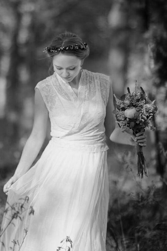 Beautiful Laura as a ecologial bride with a dress made of old lace curtains, chiffon etc. by Willatar
