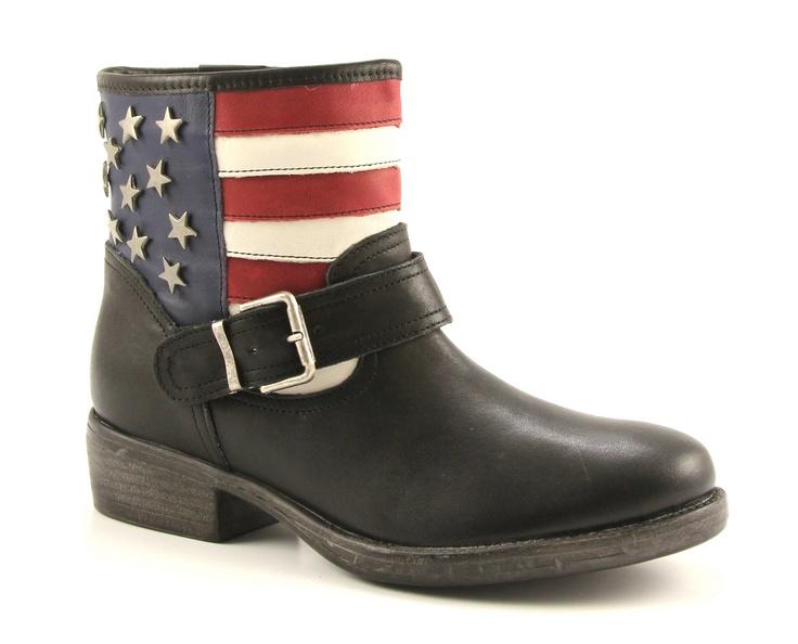 Poelman zwarte enkelboots met Amerikaanse vlag! Shop deze boots nu met korting bij Sooco.nl!