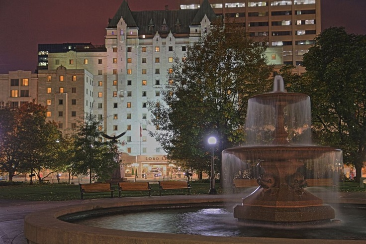 The Lord Elgin Hotel at night from Confederation Park!