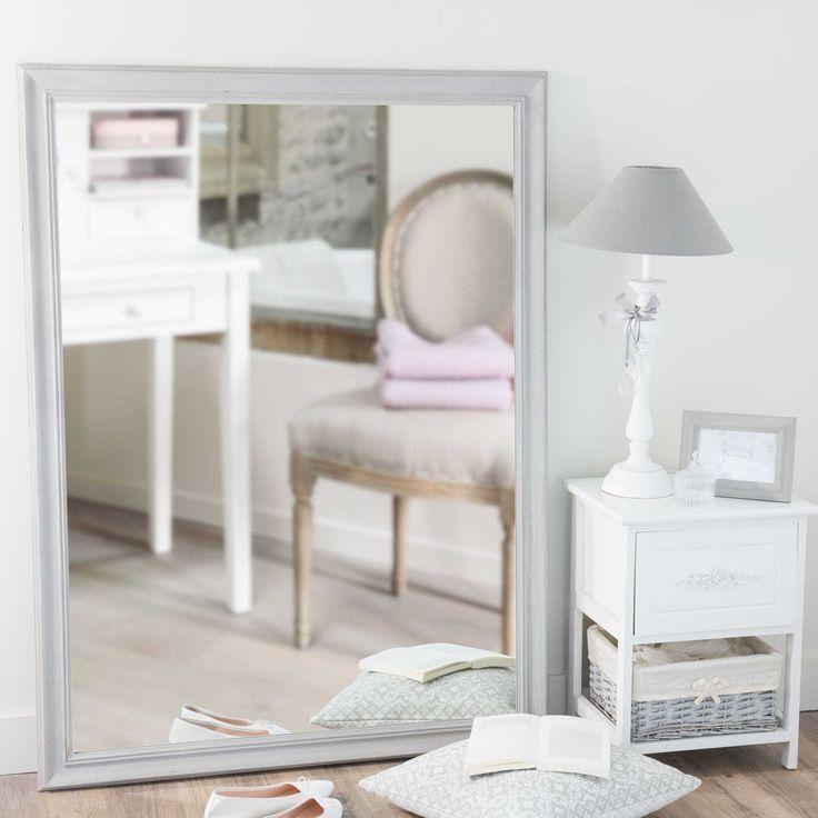 Spiegel met grijze lijst, paulownia, hoogte 120 cm, EMELINE
