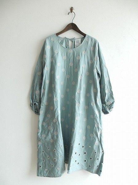 ミナペルホネンランドリー mina perhonen laundry vapor ドット刺繍ワンピース