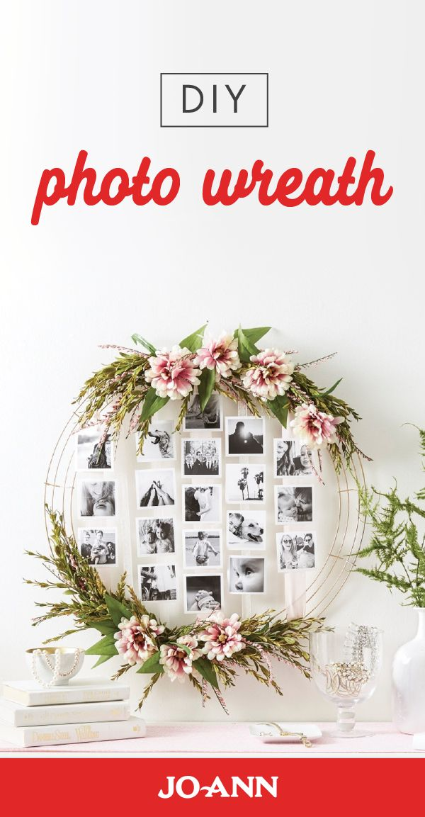 You won't believe how easy this DIY Photo Wreath is to complete! Whether you choose to recreate this simple decor project for your home or above the gift table at your wedding, you'll love how beautifully your memories are displayed.