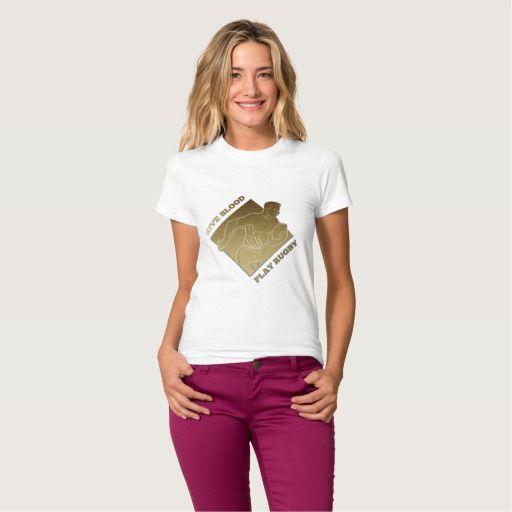 "Rugby player metallic gold give blood, play rugby shirts. Rugby World Cup women's t-shirt designed with an illustration of a rugby player running passing the ball on isolated background done in metallic gold style with text wording ""give blood, play rugby"" #rwc #rwc2015 #rugbyworldcup"