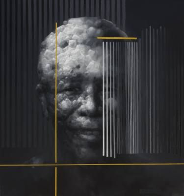 "Saatchi Art Artist Jianfeng CHEN; Painting, ""Casting the soul of Mandela"" #art"