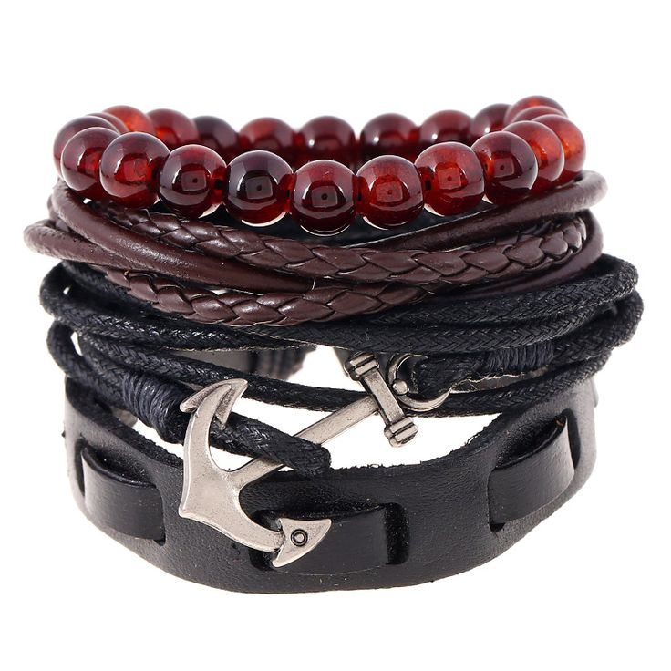 Nieuwe! 4 stks 1 Set Punk Echt Lederen Wrap Armbanden Mannen Voor Vrouwen Charm Anker Armbanden Manchet Sieraden Accessoires