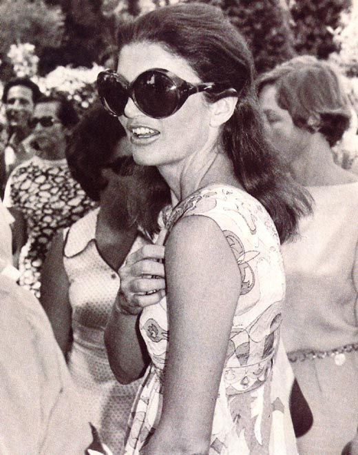 Jacqueline Kennedy  As for her style, something she was known for across the globe, there was a purpose to everything. The large, round shades, for example, allowed her to watch other people without them knowing, Jackie Style author Pamela Keogh reveals.   Read more: http://www.dailymail.co.uk/femail/article-2043399/Private-world-Jackie-O-revealed-people-knew-best.html#ixzz1ZVBgHb1S