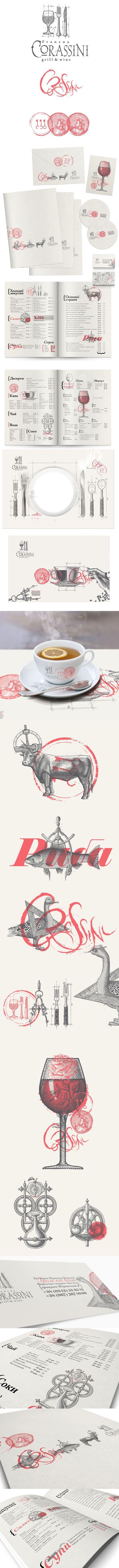Corassini branding by Yaroslav Shkriblyak. #vectorinspiration #restaurantgraphics #typography