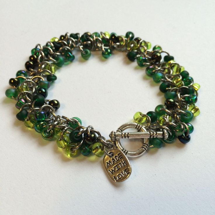 Beaded chainmaille bracelet - Shaggy bracelet in Evergreen by TrinketFairyDesigns on Etsy