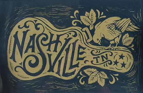 Nashville Song Bird - Block Print by Derrick Castle