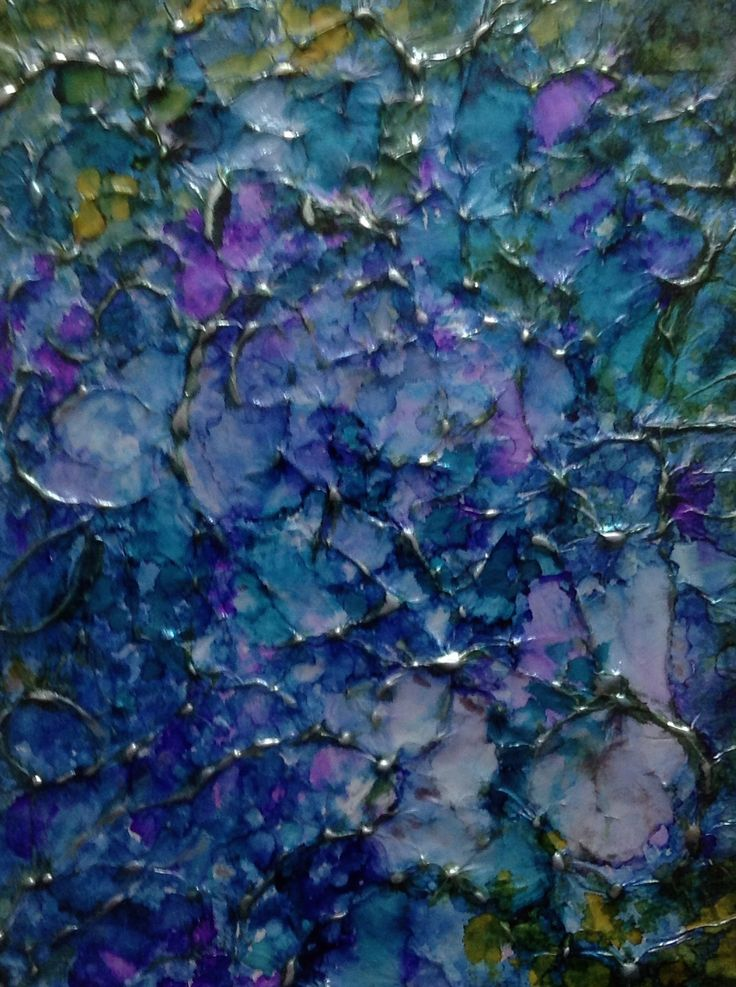 Painted With Alcohol Inks On Aluminium Foil By Shirley