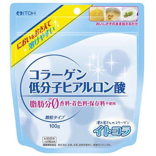 Collagen Hyaluronic Acid 100g. Manual and instruction, if any, are in Japanese only. For tea time. Smell comes from granules that melt easily. Size (exterior): 180. Japanese retail packaging. Further, just by adding it to the recipe or dessert, you can have the taste instantly. 160 (mm). Net weight: 100g.