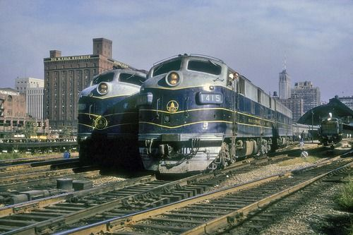Baltimore  Ohio locomotives at the Grand Central Station. Chicago 1964