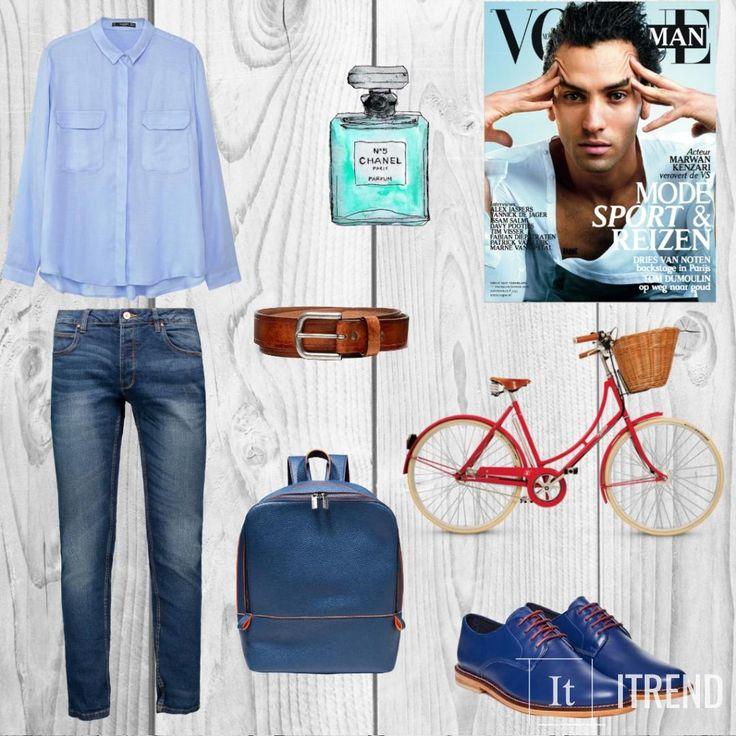 Голубая или синяя рубашка. Такие оттенки тяготят к смарт кэжуал. Носят такие рубашки как под джинсы, так и под классические брюки. К голубому цвету рубашки хорошо подходят темно-синие брюки. или светлый низ, особенно бежевые брюки. Наденьте броги или мокасины, и получите удобный повседневный лук. А дополнить его можно коричневыми… а еще лучше рыжими аксессуарами. Скажем, это может быть ремень, как в данном луке (шнурки на обуви такого же цвета и аксессуары на рюкзаке).