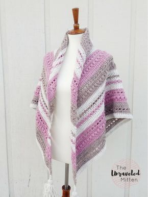 This free crochet shawl pattern is a stylish & cozy textured wrap you can drape over your shoulders for warmth or around your neck as a triangle scarf.