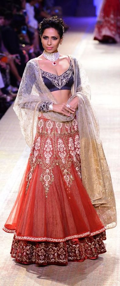 A double layered lehenga displayed at one of the LFW events.