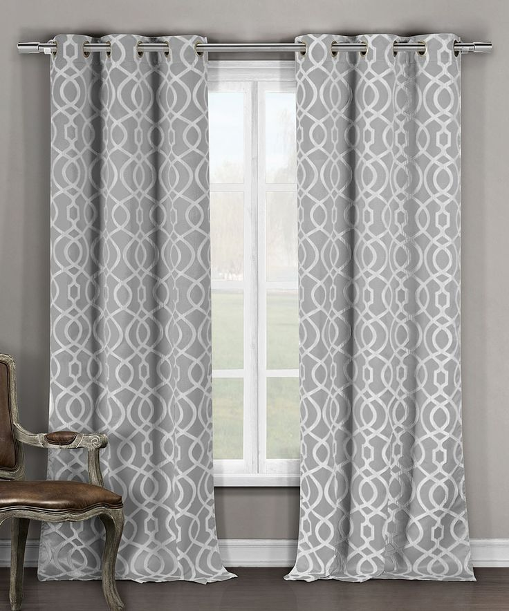 Gray Harris Blackout Curtains - Set of Two by