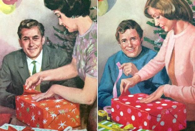 """Ladybird Books is 100 years old. The 1964 illustration of """"Mummy wrapping a present"""" (left) was updated in 1976..."""