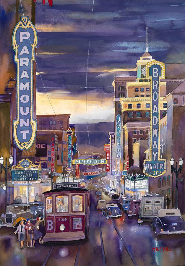 North On Broadway 1940 Painting by Mike Hill - North On Broadway 1940 Fine Art Prints and Posters for Sale - BEAUTIFUL!