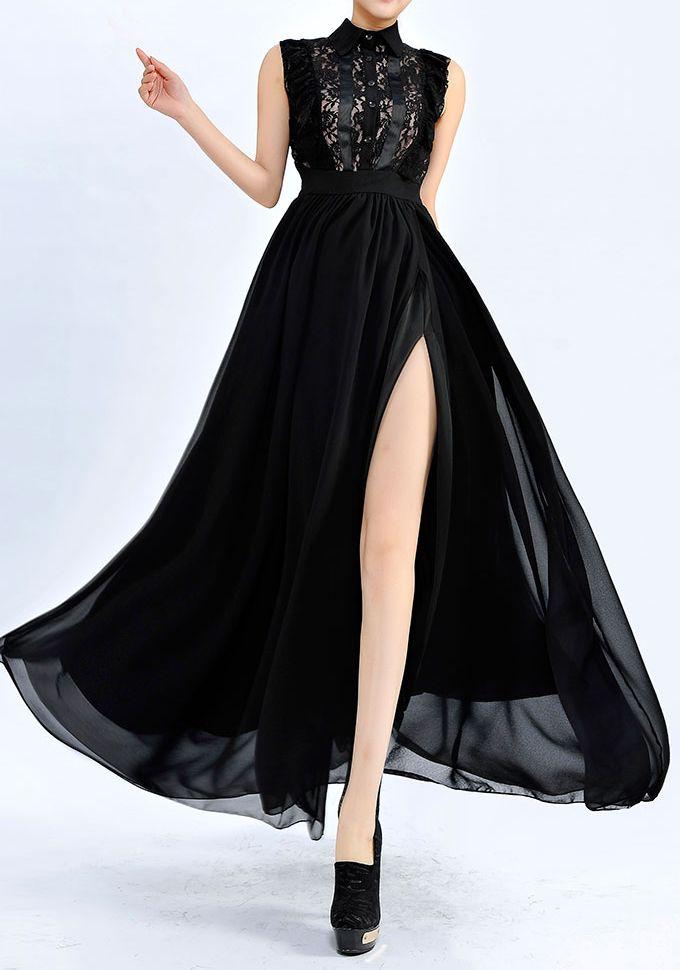 Black Sleeveless Lace Split Full Length Dress 0.00