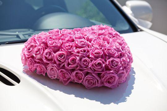 Autoschmuck Hochzeit pink