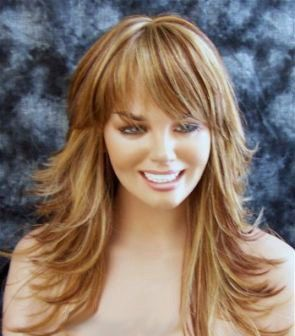 Elizabeth // Long Blonde Wig with Brown Red Highlights Swoop Bangs Synthetic Hair. $60.00, via Etsy.