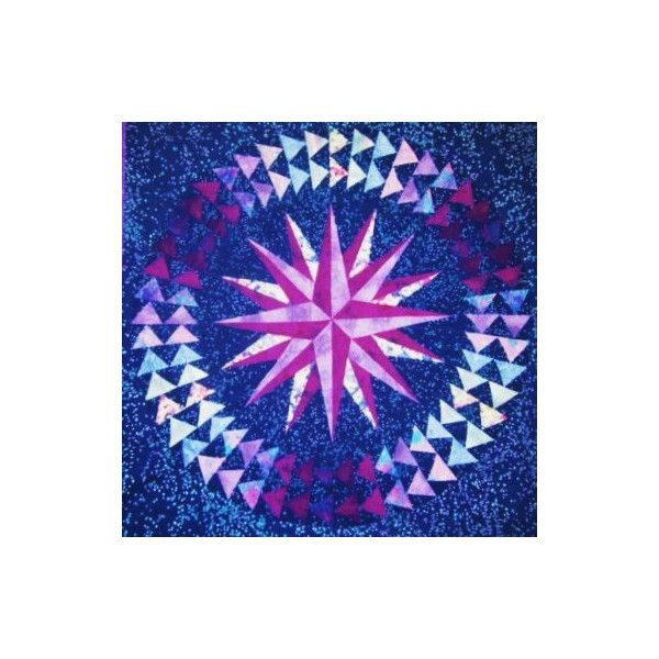 Mariner's Compass Wall Quilt in Purples and Blues ($550) ❤ liked on Polyvore featuring home, bed & bath, bedding, quilts, ombre bedding, blue bedding, purple bed linen, purple bedding and quilted bedding