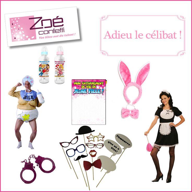 Zoé Confetti - Articles festifs - Adieu le célibat : déguisements rigolo Bébé et sexy soubrette, menottes, kit photobooth, toile souvenir, biberons et accessoires lapin. #zoeconfetti
