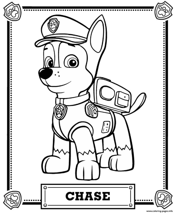 Print paw patrol chase coloring pages